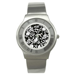 Black And White Floral Patterns Stainless Steel Watch
