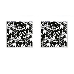 Black And White Floral Patterns Cufflinks (square)
