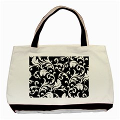 Black And White Floral Patterns Basic Tote Bag