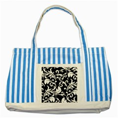 Black And White Floral Patterns Striped Blue Tote Bag
