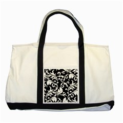 Black And White Floral Patterns Two Tone Tote Bag
