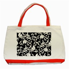 Black And White Floral Patterns Classic Tote Bag (red)