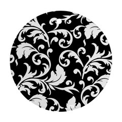 Black And White Floral Patterns Round Ornament (Two Sides)