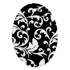 Black And White Floral Patterns Oval Ornament (Two Sides)