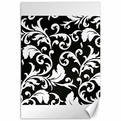 Black And White Floral Patterns Canvas 12  X 18
