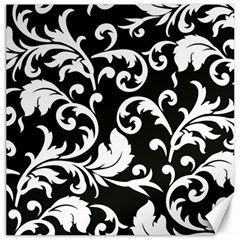 Black And White Floral Patterns Canvas 20  x 20