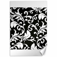 Black And White Floral Patterns Canvas 24  X 36