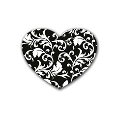 Black And White Floral Patterns Rubber Coaster (heart)