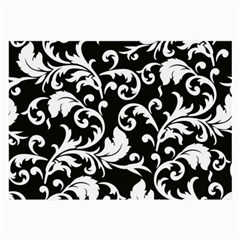 Black And White Floral Patterns Large Glasses Cloth