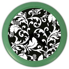 Black And White Floral Patterns Color Wall Clocks