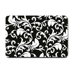 Black And White Floral Patterns Small Doormat