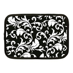Black And White Floral Patterns Netbook Case (medium)