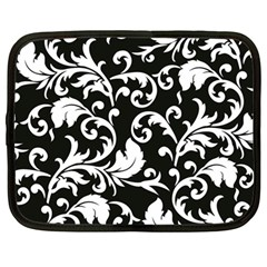Black And White Floral Patterns Netbook Case (large)