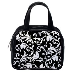 Black And White Floral Patterns Classic Handbags (One Side)