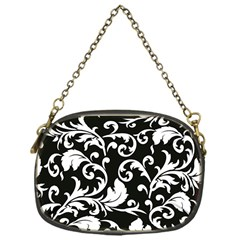 Black And White Floral Patterns Chain Purses (one Side)