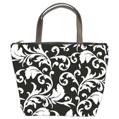 Black And White Floral Patterns Bucket Bags