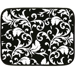 Black And White Floral Patterns Fleece Blanket (Mini)