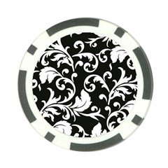 Black And White Floral Patterns Poker Chip Card Guard (10 pack)