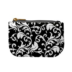 Black And White Floral Patterns Mini Coin Purses