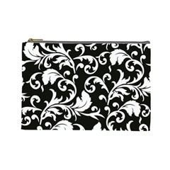 Black And White Floral Patterns Cosmetic Bag (large)