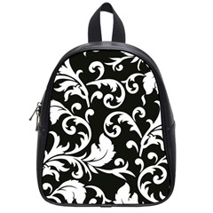 Black And White Floral Patterns School Bags (Small)