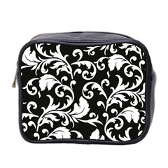 Black And White Floral Patterns Mini Toiletries Bag 2-Side