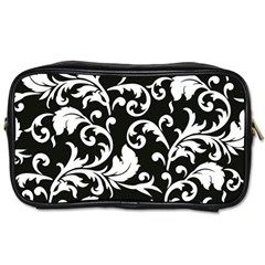 Black And White Floral Patterns Toiletries Bags