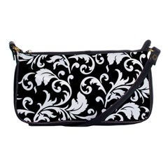 Black And White Floral Patterns Shoulder Clutch Bags