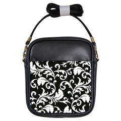 Black And White Floral Patterns Girls Sling Bags