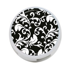 Black And White Floral Patterns 4 Port Usb Hub (one Side)