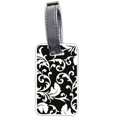 Black And White Floral Patterns Luggage Tags (two Sides)