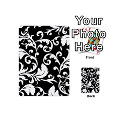 Black And White Floral Patterns Playing Cards 54 (Mini)