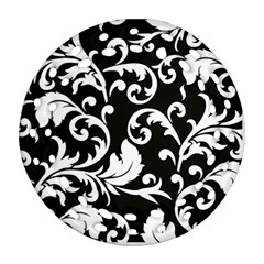 Black And White Floral Patterns Round Filigree Ornament (Two Sides)