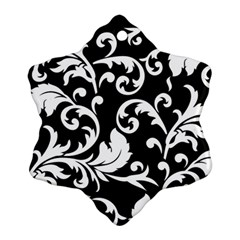 Black And White Floral Patterns Snowflake Ornament (Two Sides)