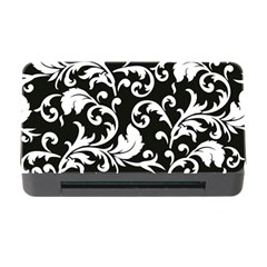 Black And White Floral Patterns Memory Card Reader with CF