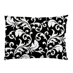 Black And White Floral Patterns Pillow Case (Two Sides)
