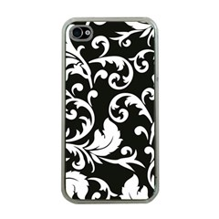Black And White Floral Patterns Apple Iphone 4 Case (clear)