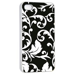 Black And White Floral Patterns Apple Iphone 4/4s Seamless Case (white)