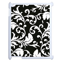 Black And White Floral Patterns Apple Ipad 2 Case (white)
