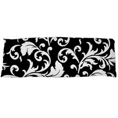 Black And White Floral Patterns Body Pillow Case (Dakimakura)