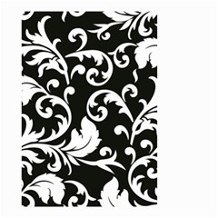 Black And White Floral Patterns Small Garden Flag (two Sides)