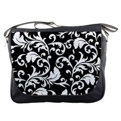 Black And White Floral Patterns Messenger Bags