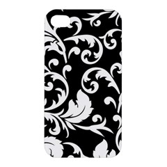 Black And White Floral Patterns Apple Iphone 4/4s Premium Hardshell Case