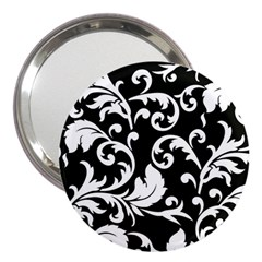 Black And White Floral Patterns 3  Handbag Mirrors