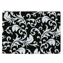 Black And White Floral Patterns Cosmetic Bag (xxl)