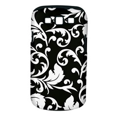 Black And White Floral Patterns Samsung Galaxy S Iii Classic Hardshell Case (pc+silicone)
