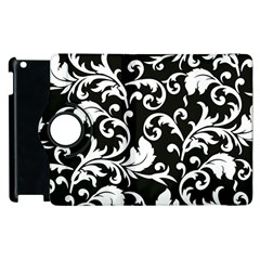 Black And White Floral Patterns Apple Ipad 3/4 Flip 360 Case