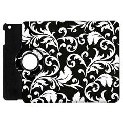 Black And White Floral Patterns Apple Ipad Mini Flip 360 Case