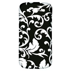 Black And White Floral Patterns Samsung Galaxy S3 S III Classic Hardshell Back Case