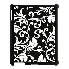 Black And White Floral Patterns Apple iPad 3/4 Case (Black)